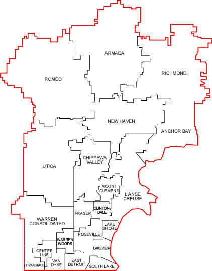 Map of Macomb County School Districts